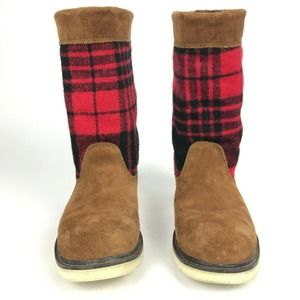 Wolverine Suede Mid Calf Buffalo Plaid Boots 7